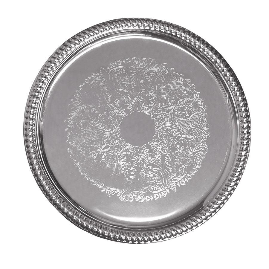 "Update International CT-14R 14"" Round Chrome Tray"