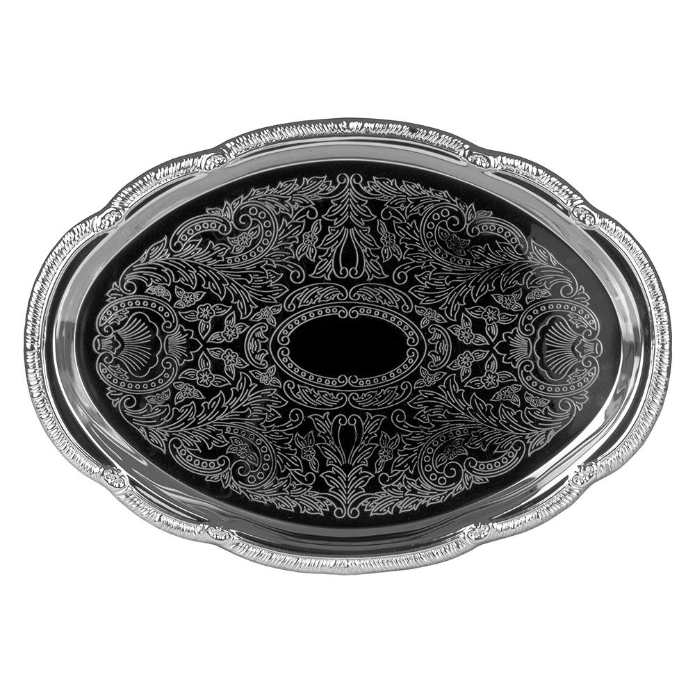 Update International CT1510V Oval Chrome Tray - 15x10