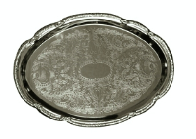 Update CT-1813V Oval Chrome Tray - 18 x 13