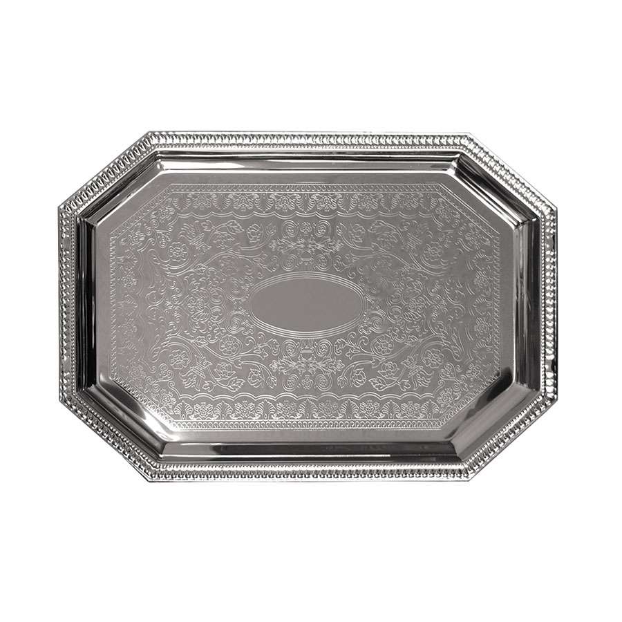 Update International CT-2014C Octagonal Chrome Tray - 20 x 14