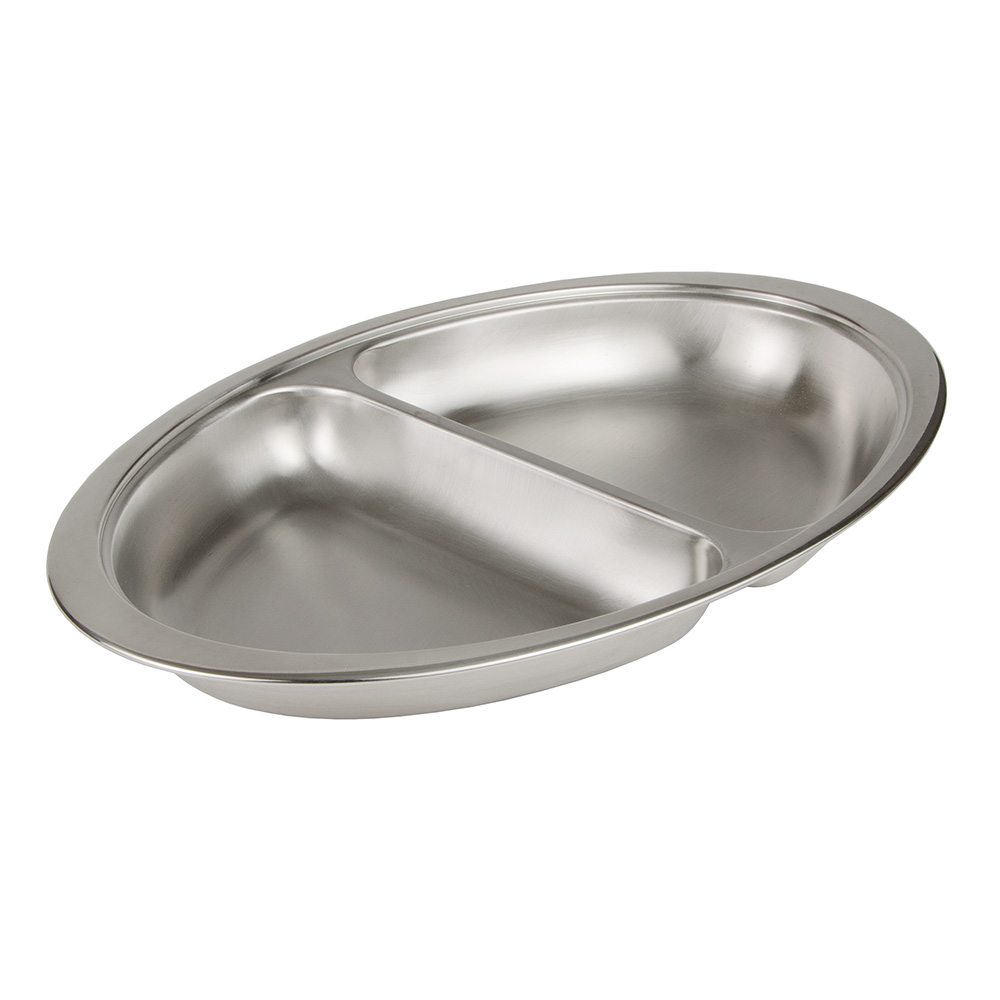Update International DC-2DF 6-qt Oval Chafer Food Pan - 2-Division, (DC-3) Stainless