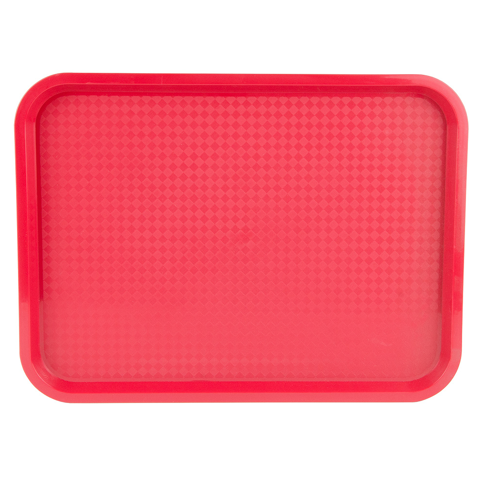 "Update FFT-1216RD Rectangular Fast Food Tray - 12x16"" Red"