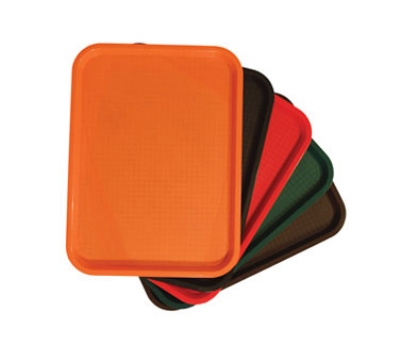 Update International FFT-1418OR 14 x 18 in Plastic Fast Food Tray Orange Restaurant Supply