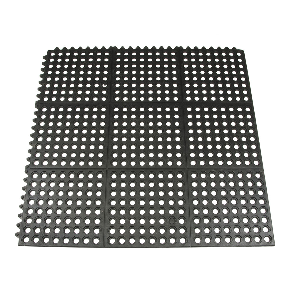 Update International FM-33B 3' Square Interlocking Rubber Floor Mat - Black