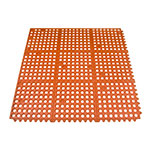 Update FM-33R 3' Square Interlocking Rubber Floor Mat - Grease-Resistant, Red
