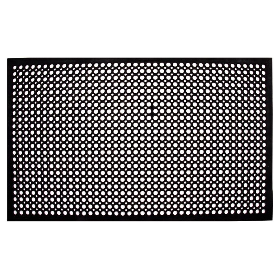 "Update FM-35B 3/8"" Rectangular Anti-Fatigue Floor Mat - Slip-Resistant, 3x5' Black"
