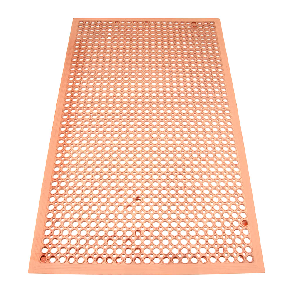 "Update FM-35R 3/8"" Rectangular Anti-Fatigue Floor Mat - Grease-Resistant, 3x5' Red"