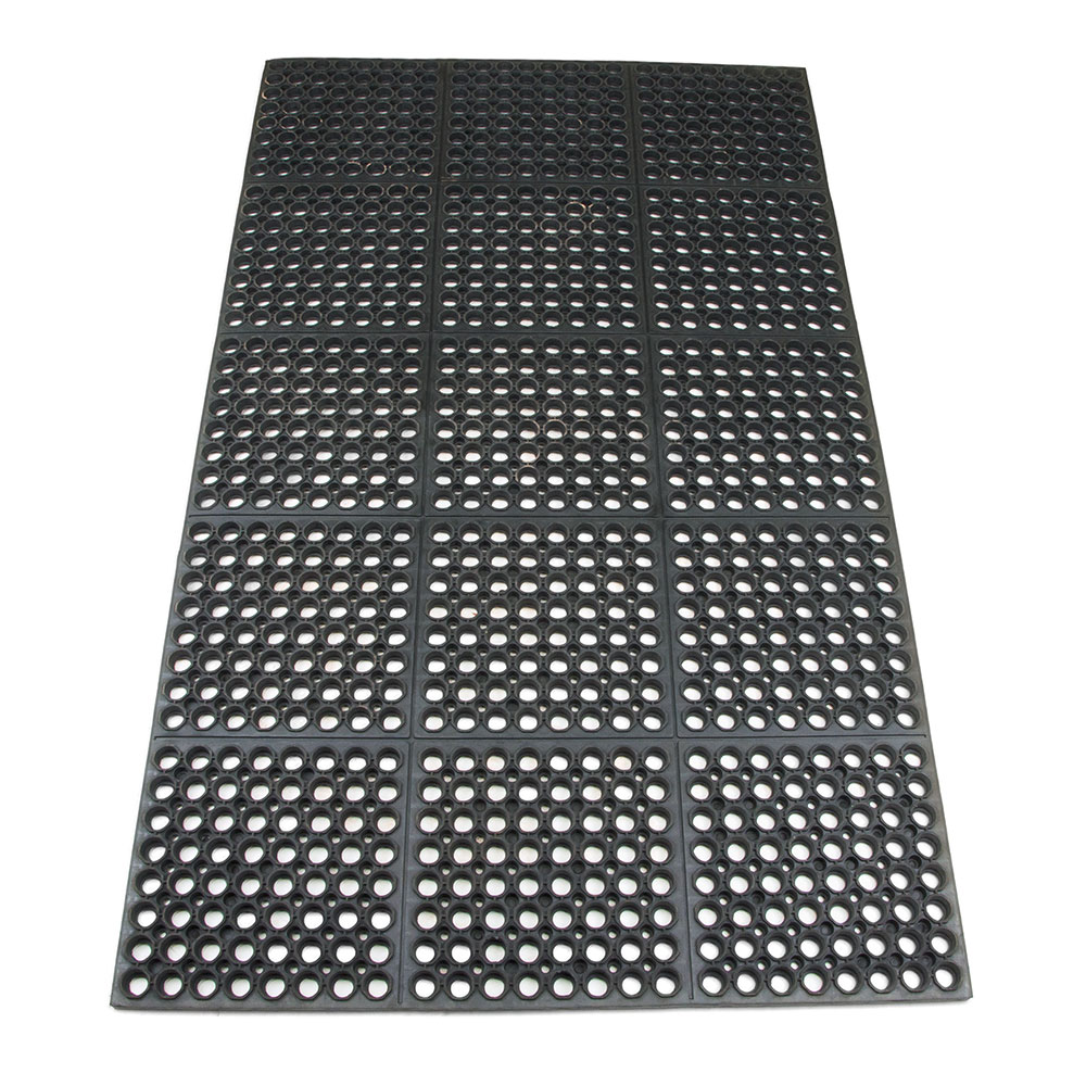 "Update FMHD-35B 3/4"" Rectangular Anti-Fatigue Floor Mat - Slip-Resistant, 3x5' Black"