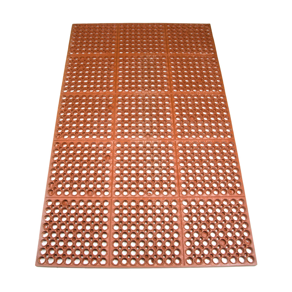 "Update International FMHD-35R 3/4"" Rectangular Anti-Fatigue Floor Mat - Grease-Resistant, 3x5' Red"