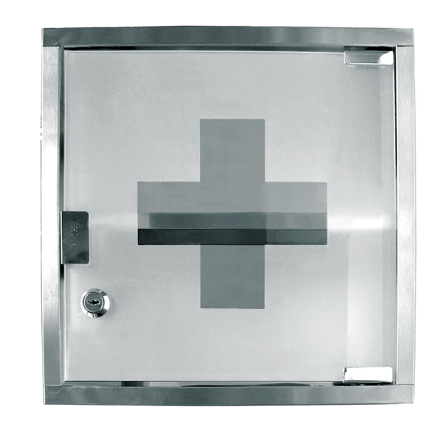 "Update International MC-125S First Aid Cabinet/Medicine Case - 12x12x5"" Stainless"