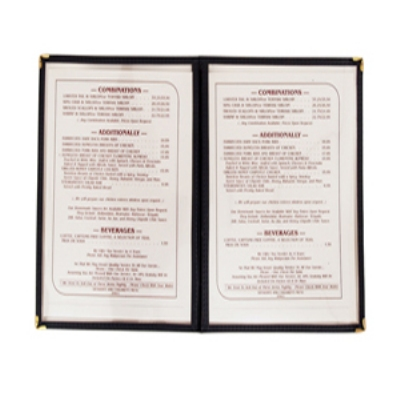 "Update International MCL-2BK Double Fold Menu Cover - 11x14"" Transparent/Black"