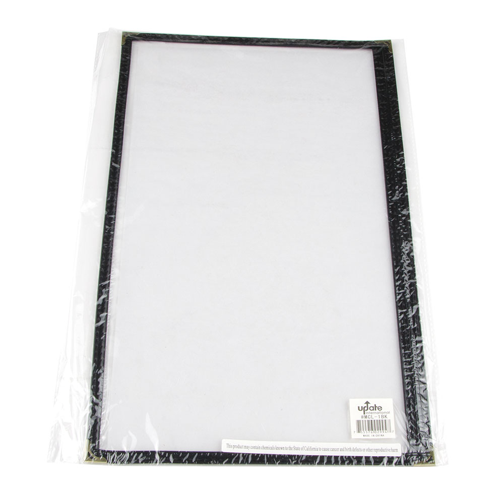 "Update MCL-1BK Single Menu Cover - 9.25"" x 14.5"" Transparent/Black"