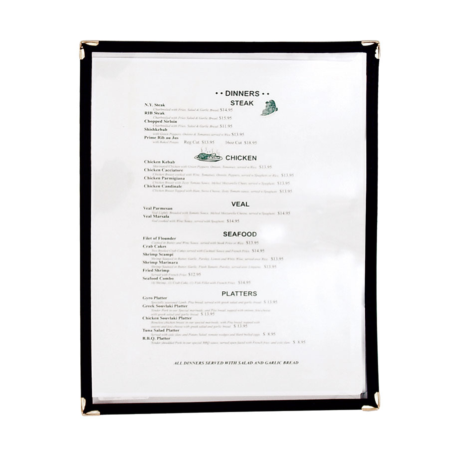 "Update MCV-1BK Single Menu Cover - 9-1/4x12"" Transparent/Black"