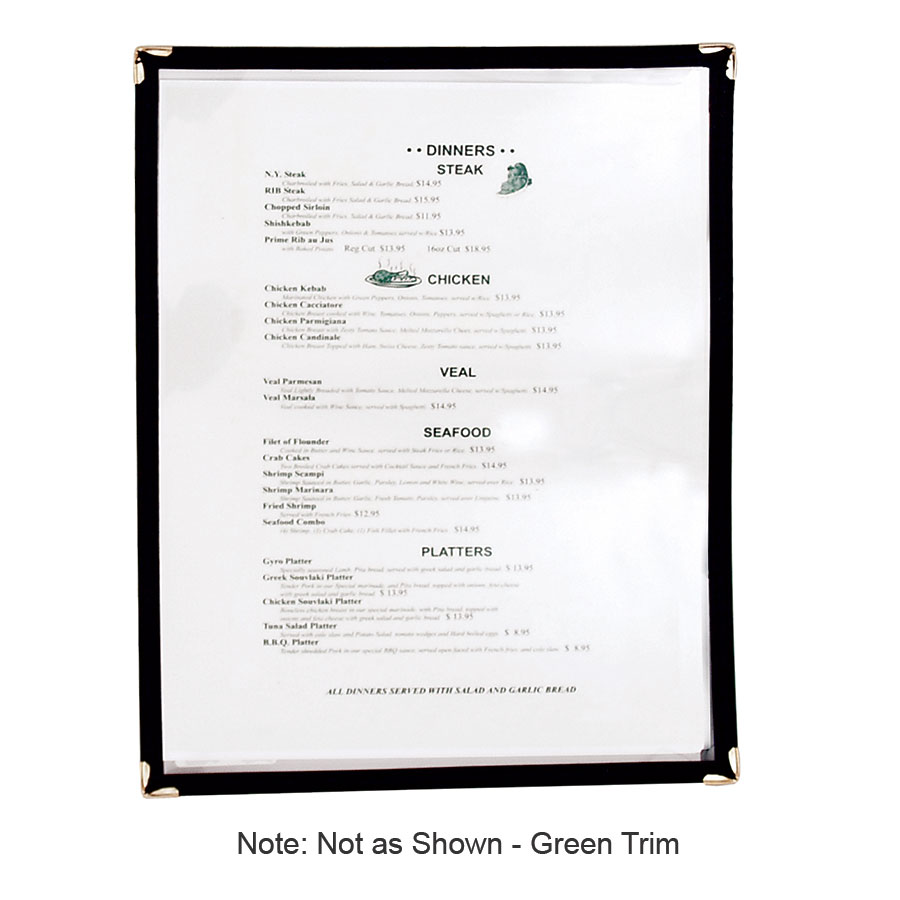 "Update MCV-1GR Single Menu Cover - 9-1/4x12"" Transparent/Green"