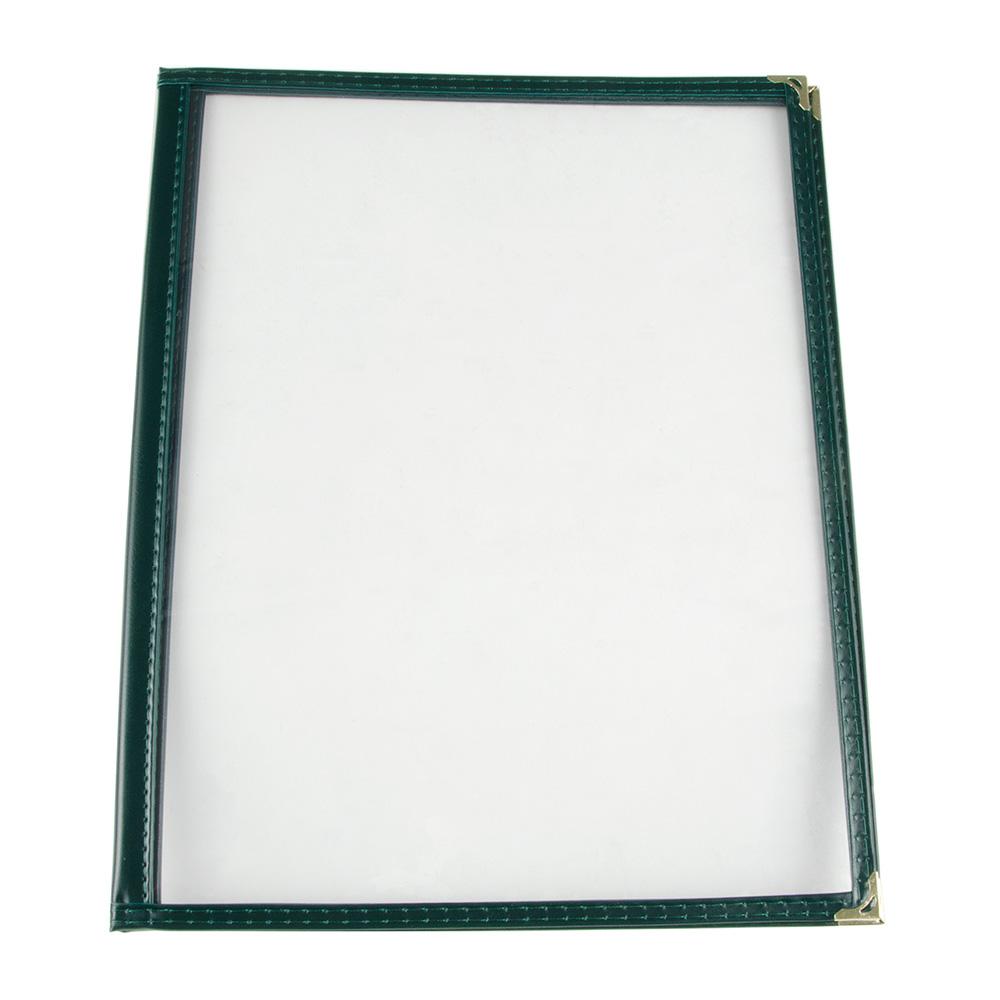 "Update MCV-2GR Double Fold Menu Cover - 9-1/4x12"" Transparent/Green"