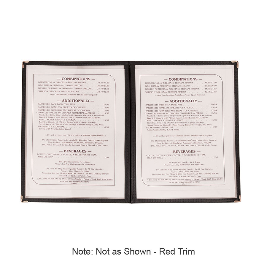 "Update MCV-2RD Double Fold Menu Cover - 9-1/4x12"" Transparent/Red"