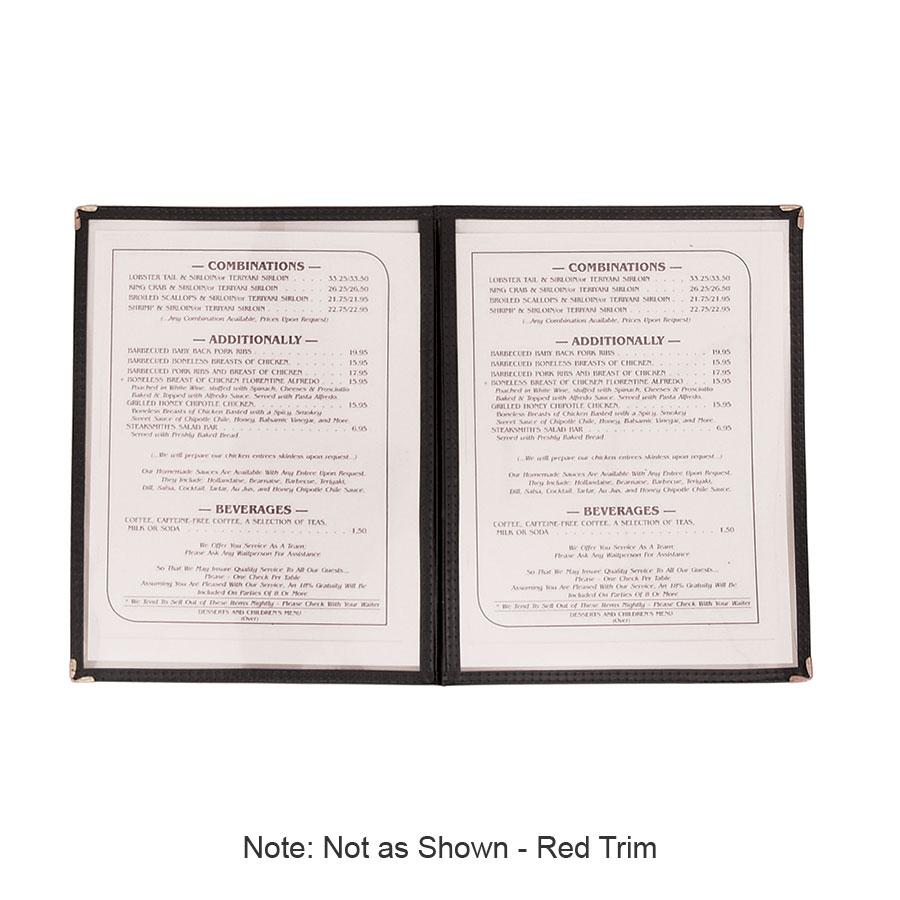 "Update MCV-2RD Double Fold Menu Cover - 9-1/4x12"" Transparent/Red"