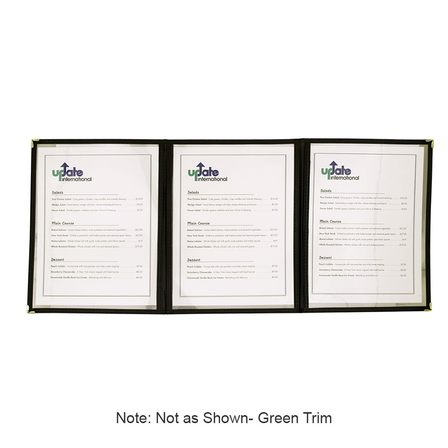 "Update MCV-3GR Triple Fold Menu Cover - 9-1/4x12"" Transparent/Green"