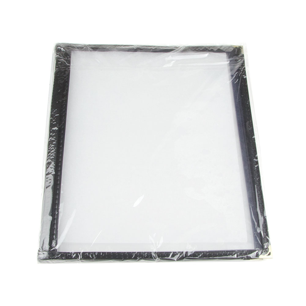 "Update International MCV-4BK Four Page Menu Cover - 9-1/4x12"" Transparent/Black"