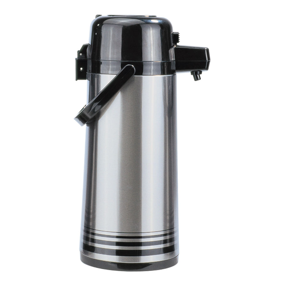 Update NPD-25-BK/SF 2.5-liter Airpot - Glass Liner, Black Push Top, Brushed Stainless