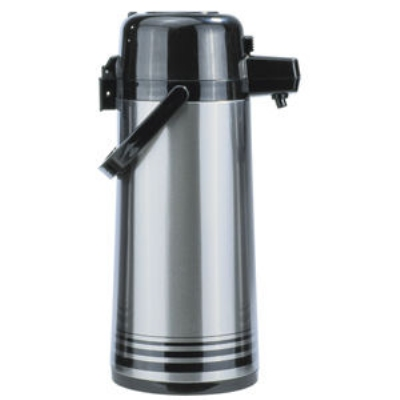 Update International NPD-25-BK/SF 2.5-liter Airpot - Glass Liner, Black Push Top, Brushed Stainless