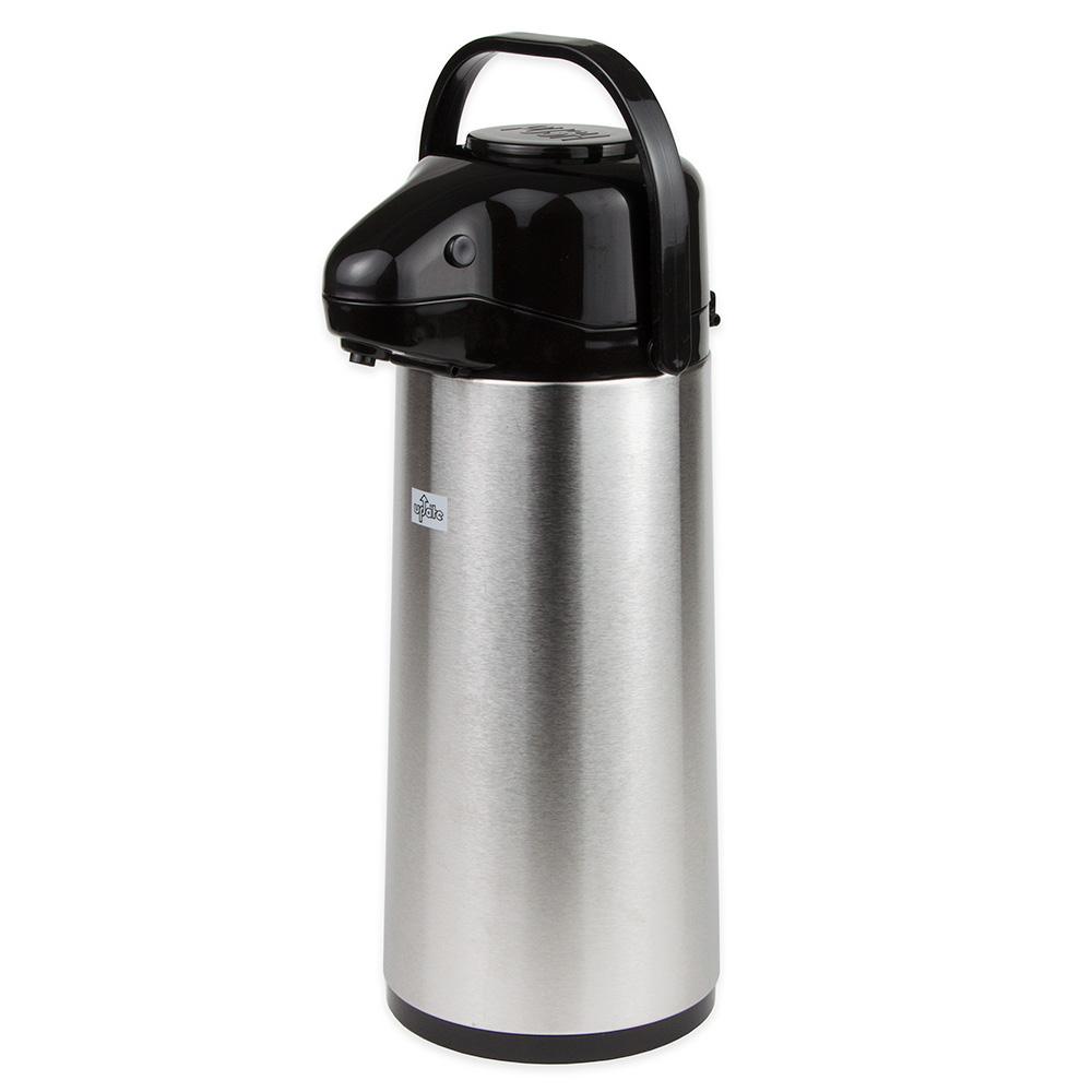 Update International NVAP-22BK 2.2-liter Val-U-Air Airpot - Glass Liner, Black Push Top, Stainless
