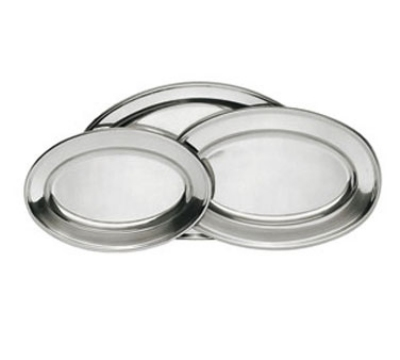"Update International OP-12 Oval Platter - 12x7-1/8"" Stainless"