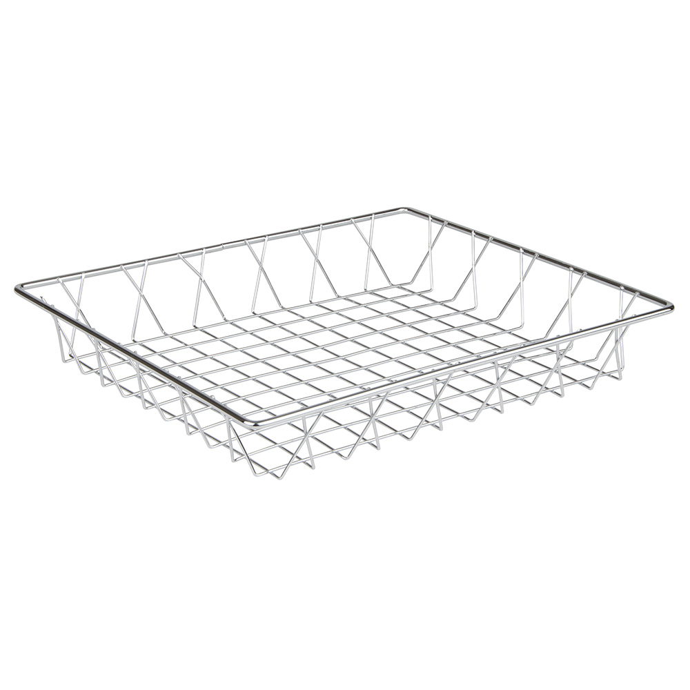 "Update PB-1412 Rectangular Pastry Basket - 14x12x2"" Chrome-Plated"
