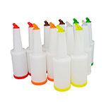Update International PBA-10 1-qt Flow-N-Store Pour Bottle - Lids/Spouts, Assorted Colors