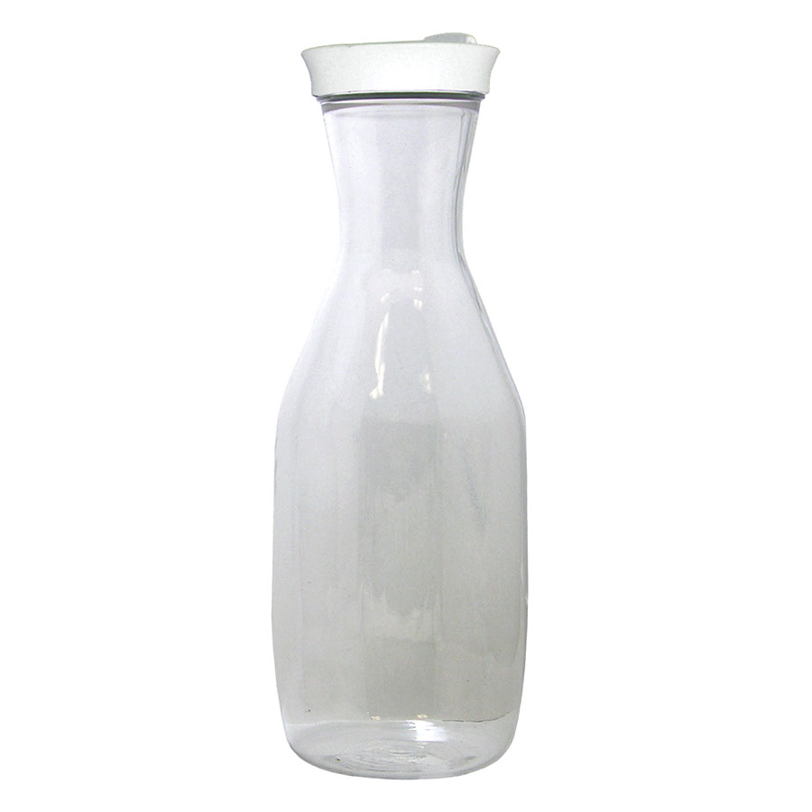 Update PCD-50 50-oz Pancake Decanter - Twist-Top, Flip Lid, Clear/White