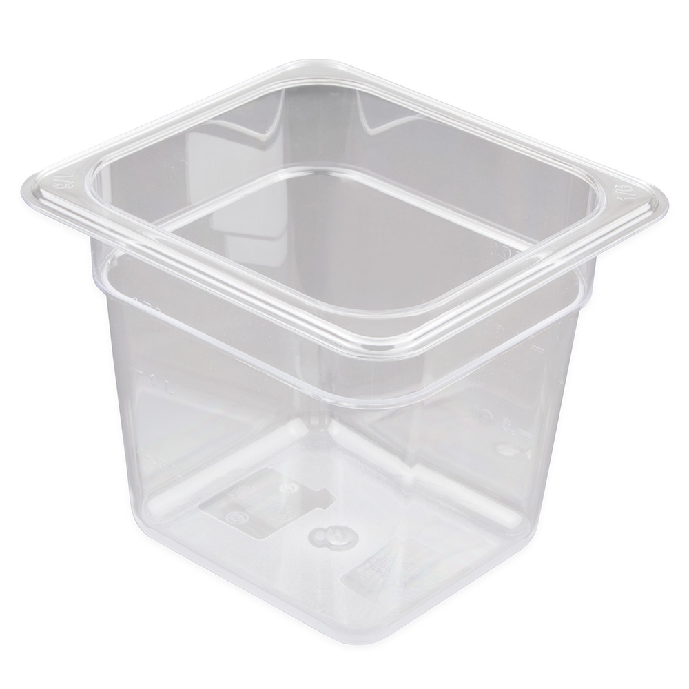 "Update PCP-166 1/6 Size Food Pan - 6"" D, Polycarbonate"