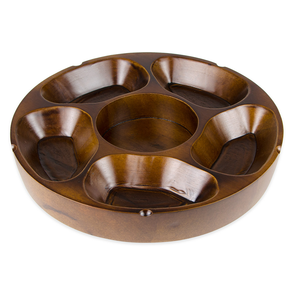 "Update PP-512 12"" Round Pu Pu Platter - 5-Compartment"