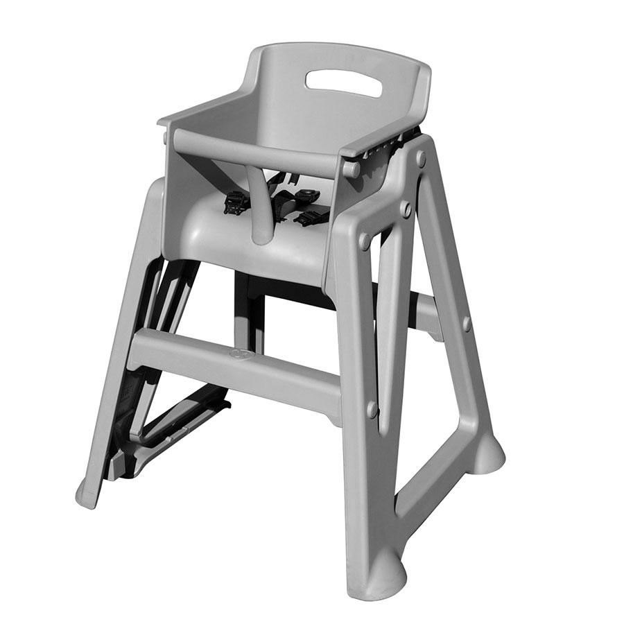 Update PP-HC/GR Stackable High Chair - 3-Point Seat Belt, Polypropylene, Gray