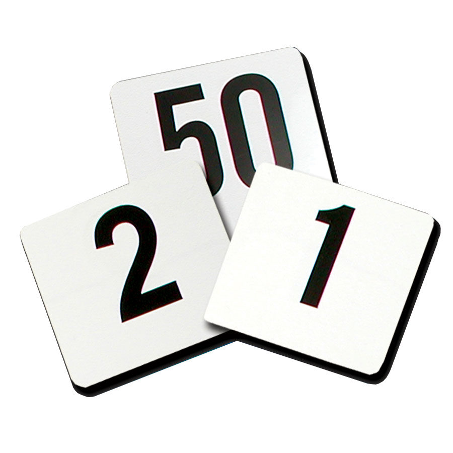"Update PTN4/1-100 Tabletop Number Cards - #1-100, 4"" x 4"", White/Black"