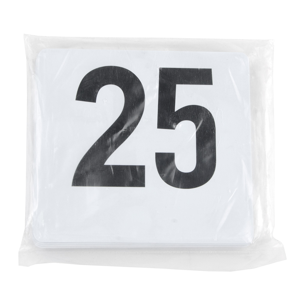 "Update PTN4/1-25 Tabletop Number Cards - #1-25, 4"" x 4"", White/Black"