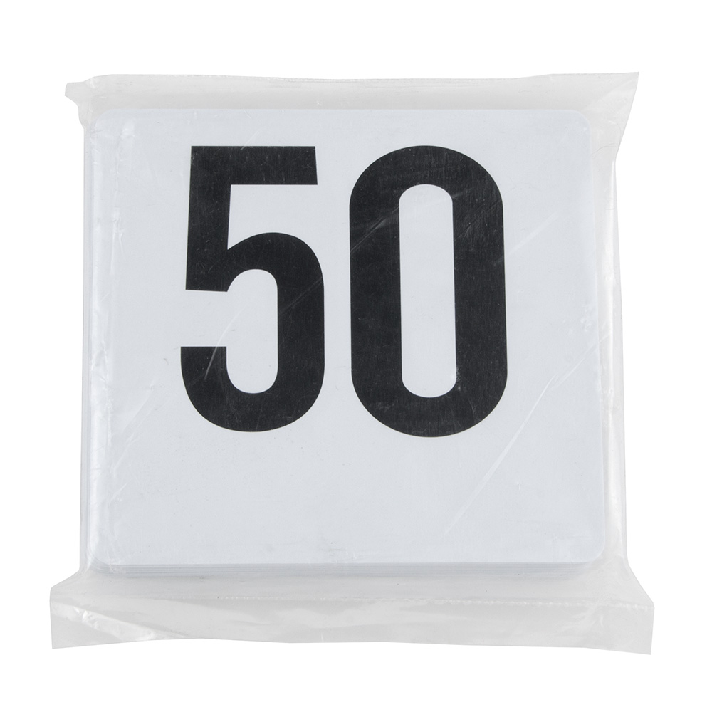 "Update PTN4/1-50 Tabletop Number Cards - #1-50, 4"" x 4"", White/Black"