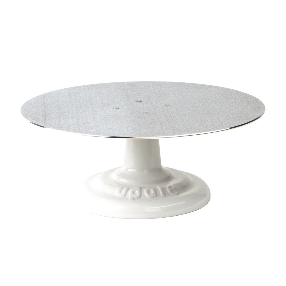 "Update RCDS-12 12"" Cake Stand - Revolving Aluminum Turntable, Cast-Iron Base"