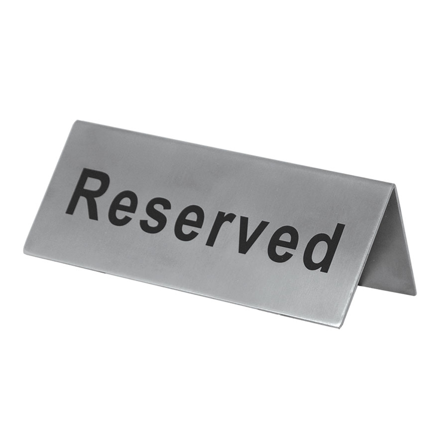 "Update International RES-5/SS Reserved"" Sign - 2x4-3/4"" Stainless"