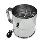 "Update International RFS-3LB 6-1/2"" Rotary Flour Sifter - 8-cup Capacity, Stainless"