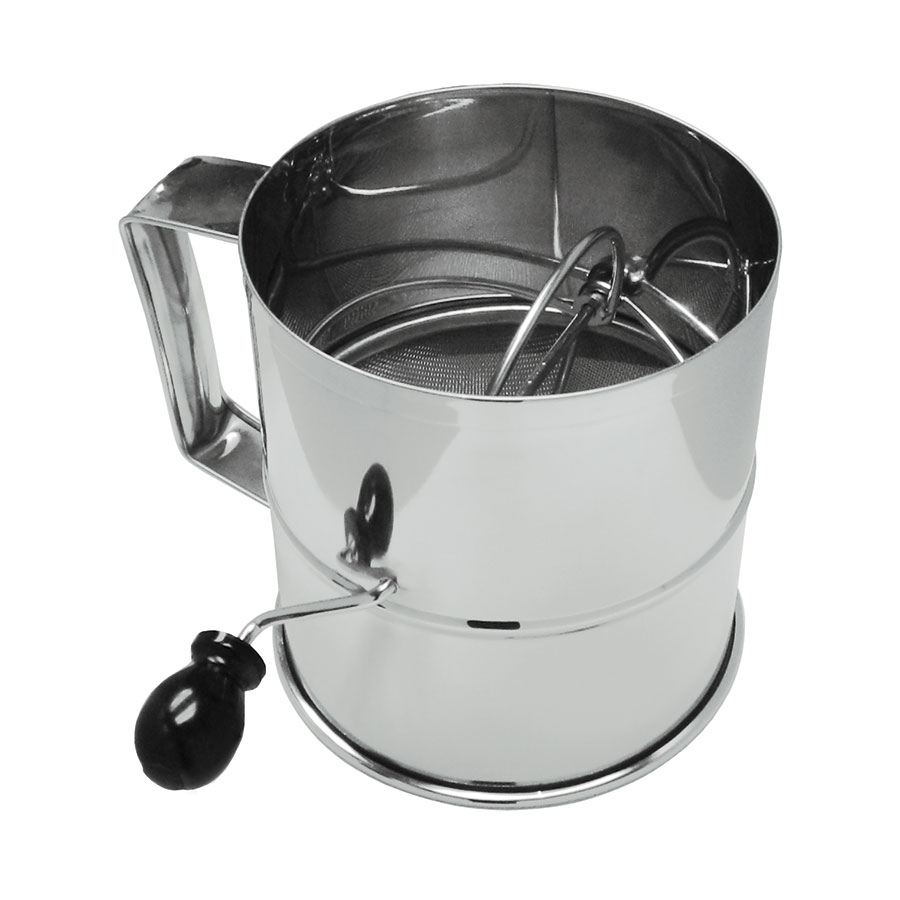 "Update RFS-3LB 6-1/2"" Rotary Flour Sifter - 8-cup Capacity, Stainless"