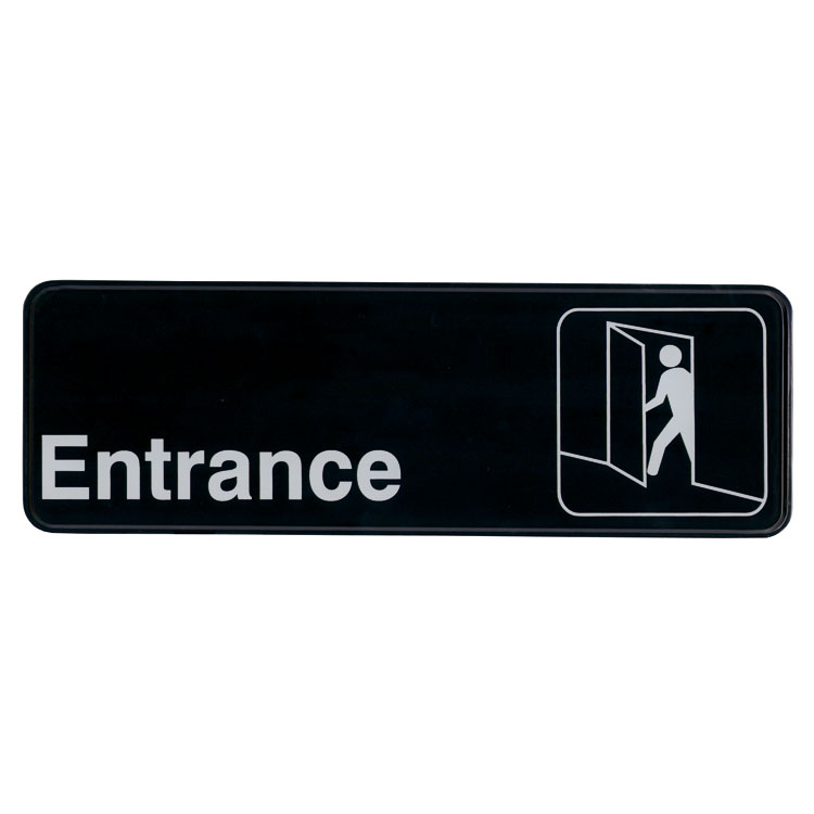 "Update International S39-10BK Entrance"" Sign - 3x9"" White on Black"