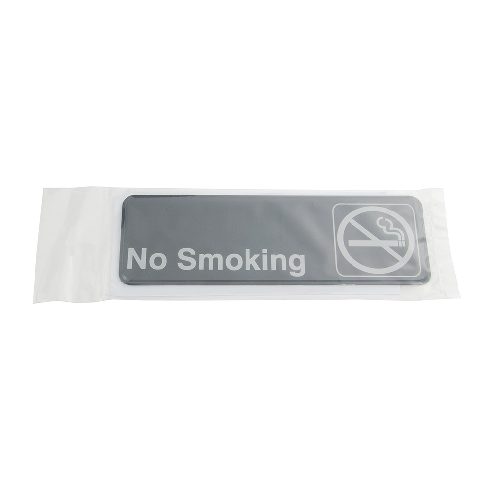 "Update International S39-11BK No Smoking"" Sign - 3x9"" White on Black"