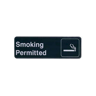 "Update S39-12BK Smoking Permitted"" Sign - 3x9"" White on Black"