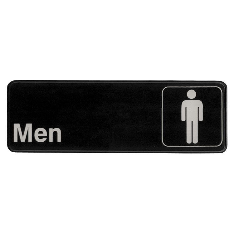 "Update International S39-13BK Men"" Sign - 3x9"" White on Black"