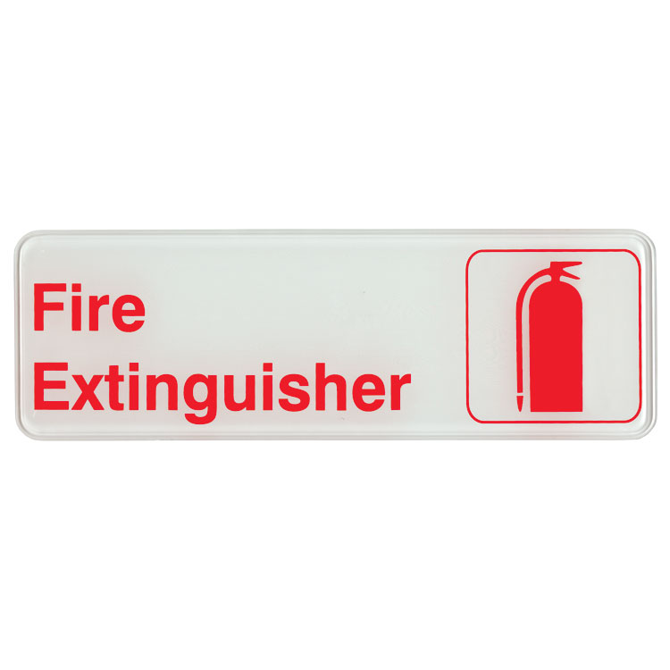 "Update S39-16RD Fire Extinguisher"" Sign - 3x9"" Red on White"