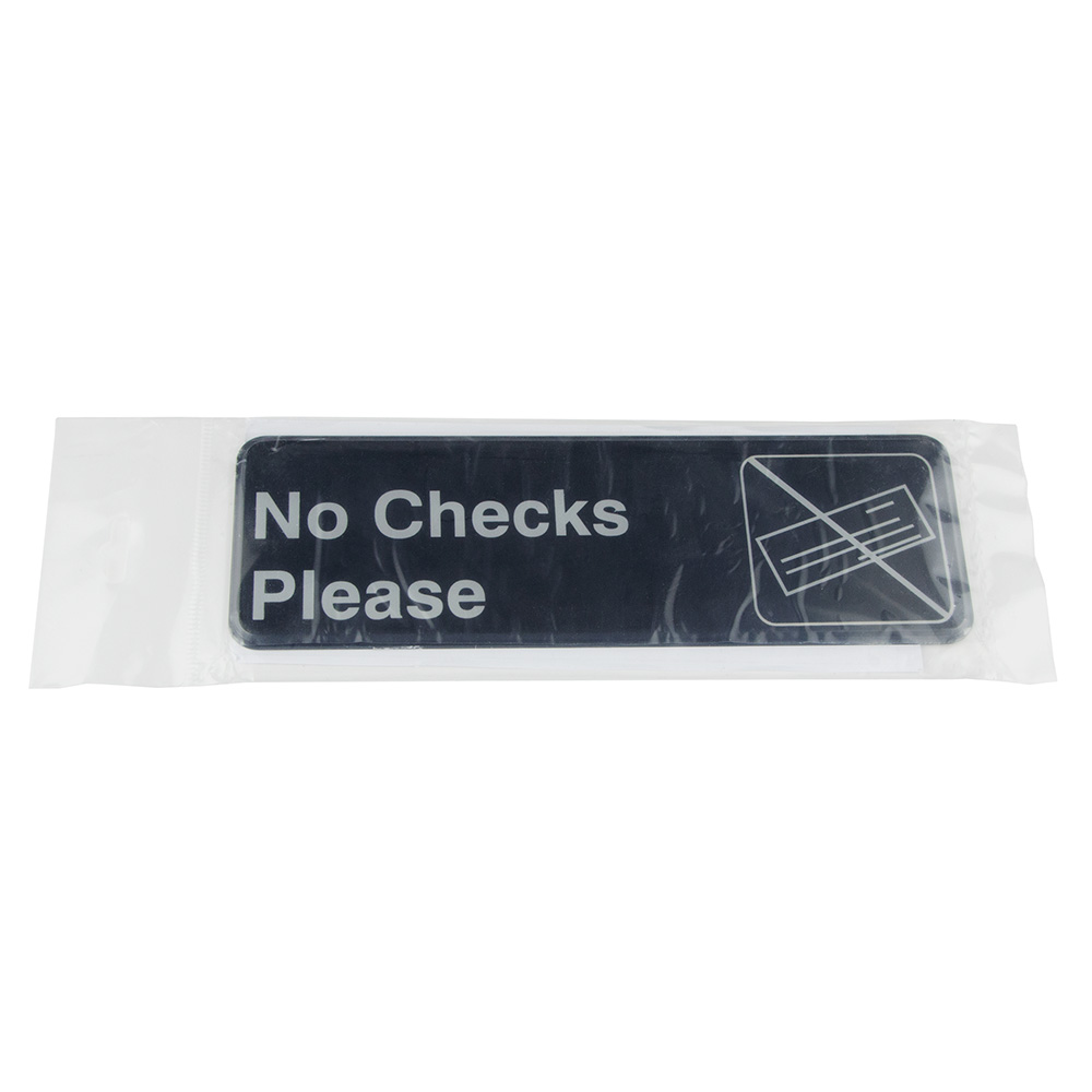 "Update International S39-17BK No Checks Please"" Sign - 3x9"" White on Black"