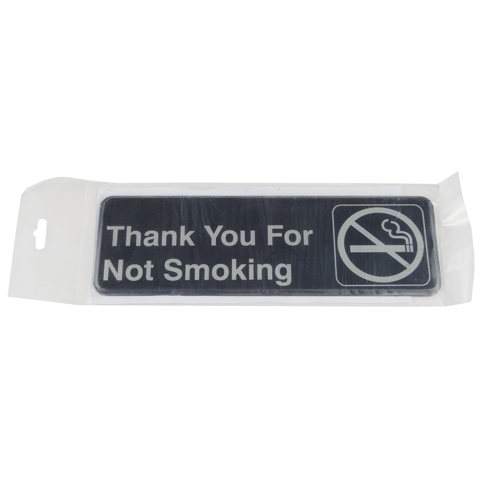 "Update S39-18BK Thank You for Not Smoking"" Sign - 3x9"" White on Black"