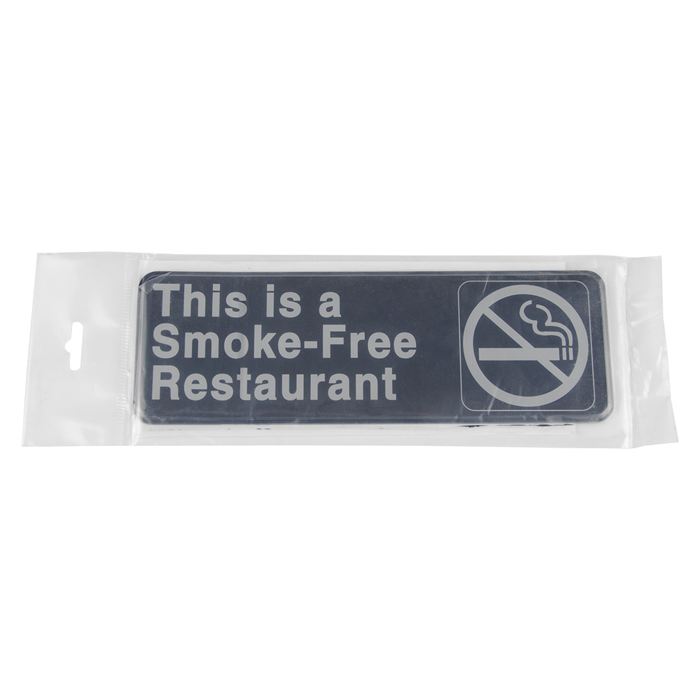 "Update S39-20BK This is a Smoke-Free Restaurant"" Sign - 3x9"" White on Black"