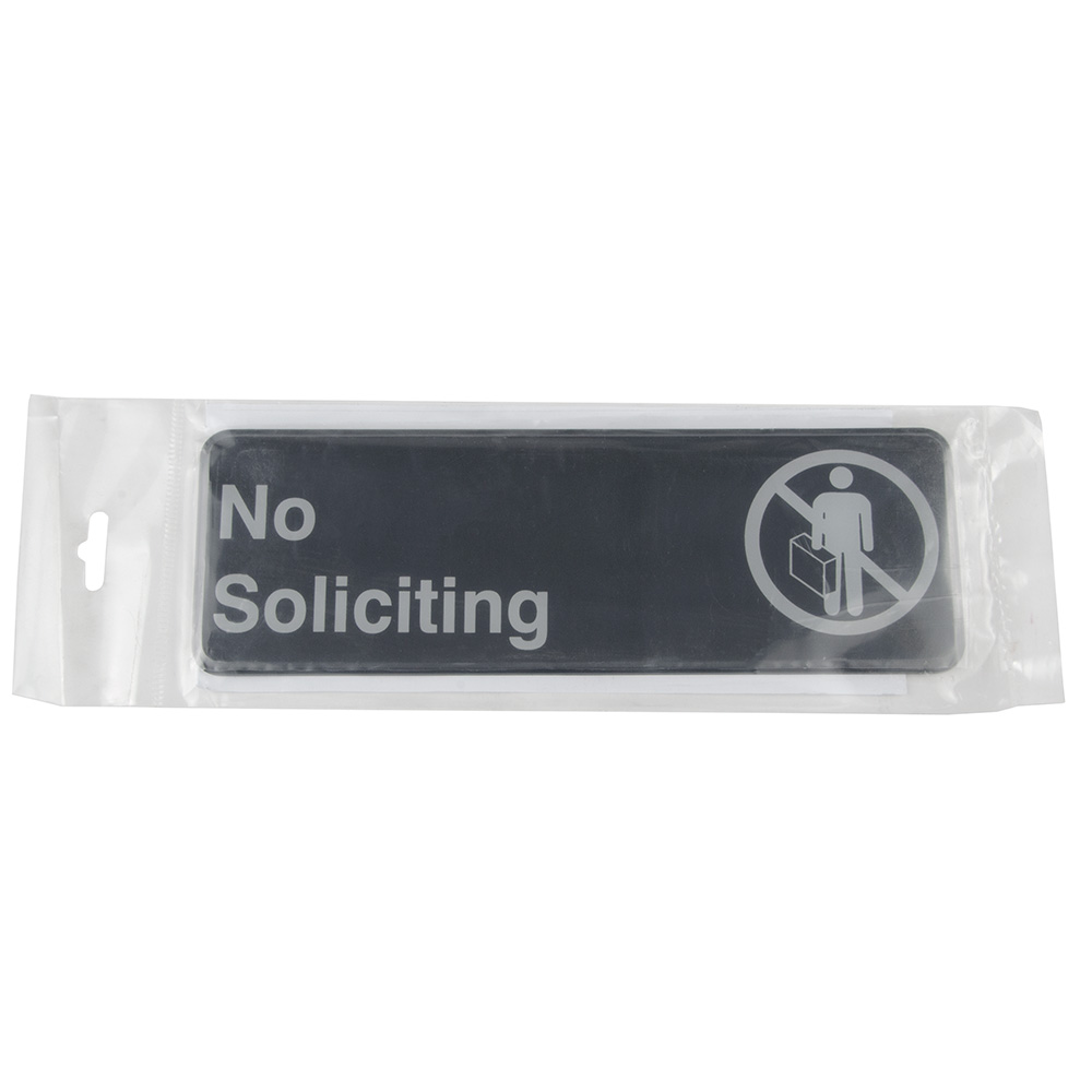 "Update S39-22BK No Soliciting"" Sign - 3x9"" White on Black"