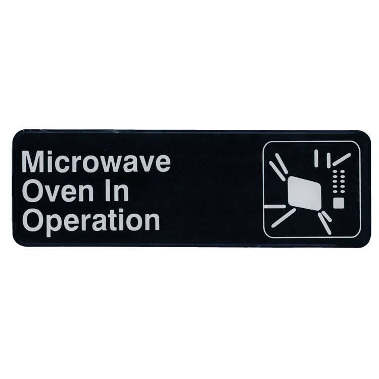 "Update S39-24BK Microwave Oven in Operation"" Sign - 3x9"" White on Black"